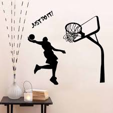 Hot Sale Wallpaper Sticker 1pc Basketball Dunk Sports Wall Sticker Cool Design Vinyl Decal Art Wall Sticker Diy Poster Sticking Aliexpress