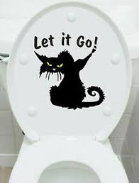 Wc Funny Cat Let It Go Vinyl Sticker Decal Toilet Bathroom Seat Ebay