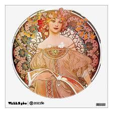 Alphonse Mucha Daydream Reverie Art Nouveau Lady Wall Decal Zazzle Com