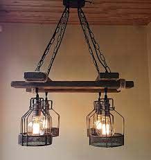 rustic wood chandelier suspended light