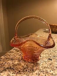 vintage depression glass pink basket
