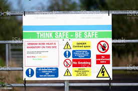 Construction Site Health And Safety Message Rules Sign Board Signage On Fence Boundary Stock Photo Download Image Now Istock