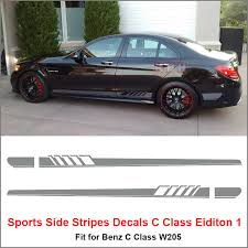 Product Side Stripe Decal Sticker Mercedes Benz W205 C Class Amg Silver Gray Any Colors