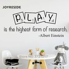 Play Quotes Wall Decal Home Children Playroom Art Design Wall Decor Play Is The Highest Form Of Research Vinyl Wall Sticker M387 Wall Stickers Aliexpress