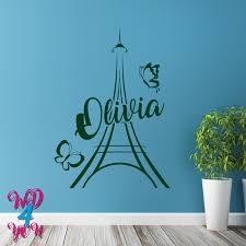 Paris Eiffel Tower Decal Girls Room Bedroom Home Decor Wall Decal Name Girls Personalized Stickers Personali Name Wall Decals Personalized Stickers Wall Decals