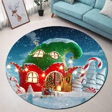 Fairy Tale Red Green House Christmas Printed Round Carpet Kids Room Soft Carpets For Living Room Bedroom Rug Chair Floor Mat Bath Mats Aliexpress