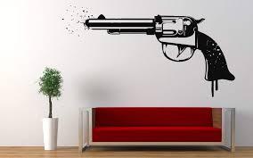 Amazon Com Weapon Gun Wall Decals Decor Bullet Shot Shooter Rifle Bandit Sheriff Art Stickers Decorations Vinyl Pictures For Office Studio Shop Home Kids Nursery Boys Girls Room Bedroom Door Window