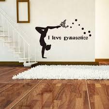 Girls Room Decor I Love Gymnastics Quote Wall Vinyl Decals Gymnastics Girls Silhouette Wall Sticker Home Vinyl Art Az987 Wall Stickers Aliexpress