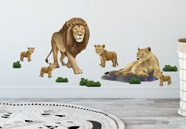 Lion Family Mural For Kids Room Walls Wall Decals Of Lions