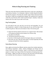 Hints In Dog Fencing And Training