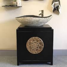 black single vessel sink vanity