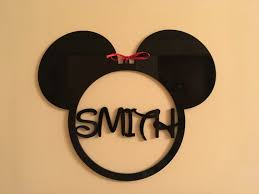 Mickey Mouse Head Monogram Nursery Kids Bedroom Personalized Any Name Sign Minnie Mouse Hanging Wall Decoration Custom Ornament Disney Shape