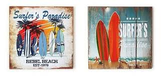 wooden surf board sign printed wall art