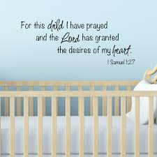 For This Child I Have Prayed Biblical Nursery Wall Art Decal Vinyl Written