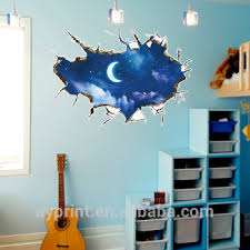 Sk9227 3d Blue Night Sky Moon Break Through Window Sofa Bedside Wall Sticker Diy Decorative Kids Living Room Home Wall Decal View 3d Nightsky Wall Decal Sk Product Details From Zhejiang Shenao