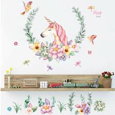Animal Unicorn Wall Sticker Kids Bedroom Rainbow Wall Poster Removable Typical For Sale Online Ebay