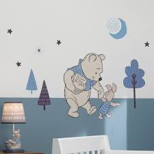 Lambs And Ivy Pooh Bear Wall Decal In Blue And Beige Nebraska Furniture Mart