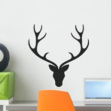 Vector Illustration Deer Head Wall Decal Wallmonkeys Com