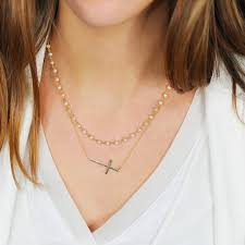 necklace rosary cross 2 rows and white