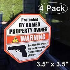Owner Armed Warning Vinyl Decal Sticker 2nd Amendment Gun Firearm Pistol Permit Car Truck Decals Stickers Nuntiusbrokers Com