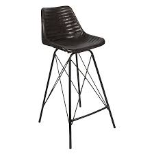 capri leather bar stool matte black by