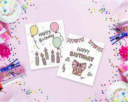 Hand Drawn Birthday Cards Collection For Happiest Celebrations Freebie