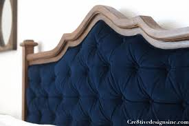 diy blue tufted headboard cre8tive