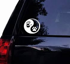 Amazon Com Tshirt Rocket Yin Yang Decal Human Handprint And Dog Pawprint Dog Car Decal Laptop Decal Car Window Mirror Sticker 5 White Automotive