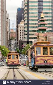 Two Cable cars traffic in California Street, San Francisco, CA ...