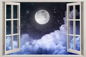 Full Moon Night 3d Window View Decal Wall Sticker Home Decor Art Mural Stars Ebay