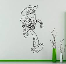Amazon Com Toy Story Sheriff Woody Wall Vinyl Decal Disney Cartoons Wall Sticker Home Interior Kids Children Room Decor Removable Kitchen Dining