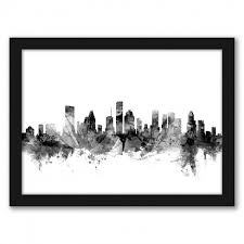 Americanflat Houston Texas Skyline New 1 By Michael Tompsett Black Frame Wall Art Target