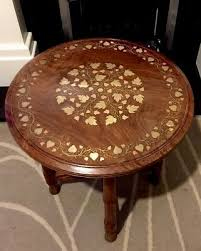 antique rosewood indian table brass and