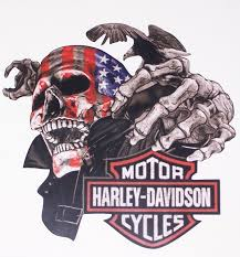 Harley American Flag Skull Full Color Graphic Window Decal Stick