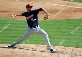 Minnesota Twins pitcher Myles Jaye throws during Editorial Stock ...