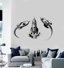 Vinyl Wall Decal Rocket Rise Ship Space Cosmic Astronauts Stickers Mur Wallstickers4you