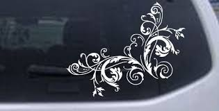 Amazon Com Rad Dezigns Floral Vine Corner Swirl Car Window Wall Laptop Decal Sticker White 6in X 7 5in Automotive