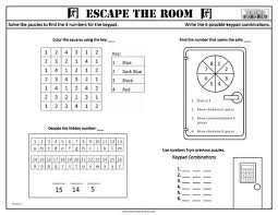 escape the room worksheets teaching