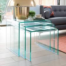 clear glass nest coffee table glass