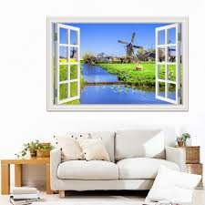 3d Window Pvc Decal Wall Sticker Large Nature Poster View Of Windmill Beside River Scenery New Wallpapers Vinyl Decal Modern Wall Art Home Decoratives Wish