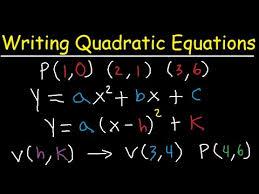 writing quadratic equations functions