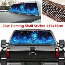135x36cm Red Flaming Skull Sticker Car Rear Window Graphic Decal For Truck Suv Archives Midweek Com