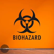 Biohazard Symbol With Text Vinyl Wall Decal Sticker Horror Etsy