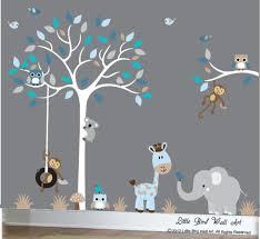 Baby Boy Wall Decal Nursery White Tree Wall Decal Grey Blue Etsy