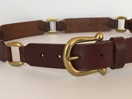 fossil linked brown leather belt brass