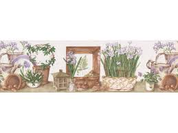 white lilac flower pots wallpaper border