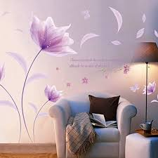 Amazon Com Purple Flowers Wall Decals E Scenery Love Peel And Stick Diy 3d Wall Stickers Mural Art Wallpaper For Kids Room Home Nursery Wedding Party Window Decor Home Kitchen