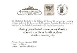 Tiberio Murcia Godoy Invitacion Al Lanzamiento Hechos Y
