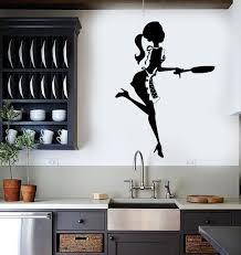 Vinyl Wall Stickers Kitchen Chef Woman Cook Cooking Restaurant Mural Unique Gift 169ig Kitchen Wall Stickers Vinyl Wall Stickers Kitchen Wall Decals