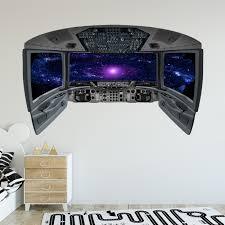 Vwaq Outer Space Universe Wall Decal Spaceship Window Cockpit Wall Mural Cp30 Walmart Com Walmart Com